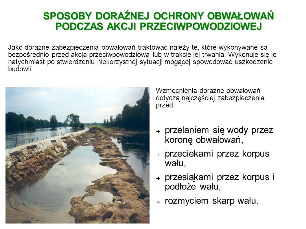 Jest to najszybszy i najprostszy sposób ochrony obwałowań w razie grożącego uszkodzenia i zalania terenów przyległych.