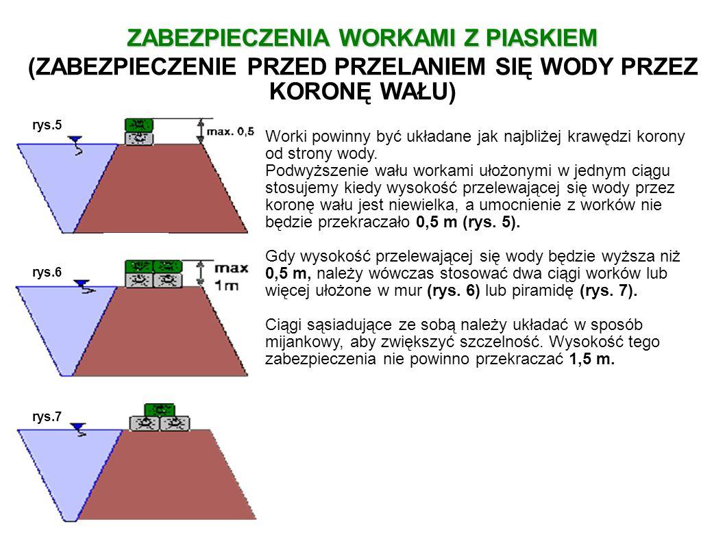 Gdy podwyższenie korony wału układamy z dwóch ciągów worków, to wtedy worki możemy układać tzw.