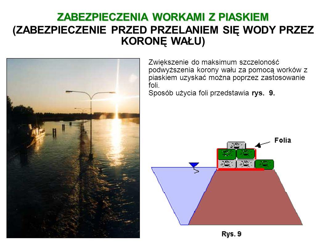 Zwiększenie do maksimum szczeloność podwyższenia korony wału za pomocą worków z piaskiem uzyskać można poprzez zastosowanie foli. Sposób użycia foli p