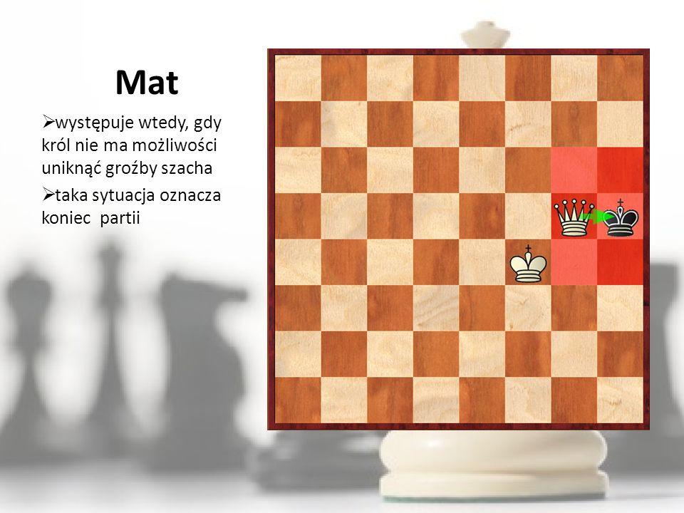 Mat występuje wtedy, gdy król nie ma możliwości uniknąć groźby szacha taka sytuacja oznacza koniec partii
