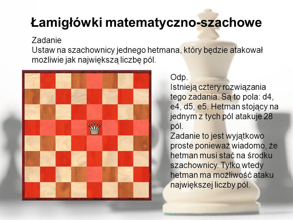 Łamigłówki matematyczno-szachowe Zadanie Ustaw na szachownicy jednego hetmana, który będzie atakował możliwie jak największą liczbę pól. Odp. Istnieją