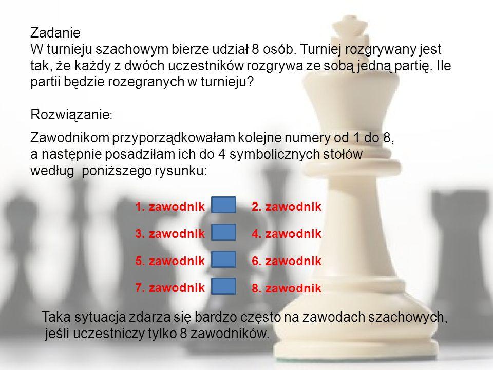 Zadanie W turnieju szachowym bierze udział 8 osób. Turniej rozgrywany jest tak, że każdy z dwóch uczestników rozgrywa ze sobą jedną partię. Ile partii