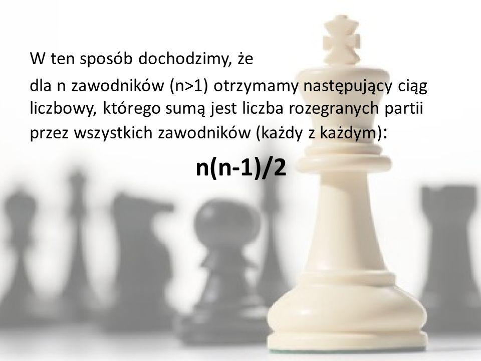 W ten sposób dochodzimy, że dla n zawodników (n>1) otrzymamy następujący ciąg liczbowy, którego sumą jest liczba rozegranych partii przez wszystkich zawodników (każdy z każdym) : n(n-1)/2