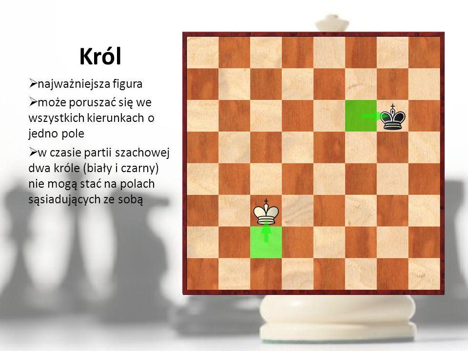 Król najważniejsza figura może poruszać się we wszystkich kierunkach o jedno pole w czasie partii szachowej dwa króle (biały i czarny) nie mogą stać n