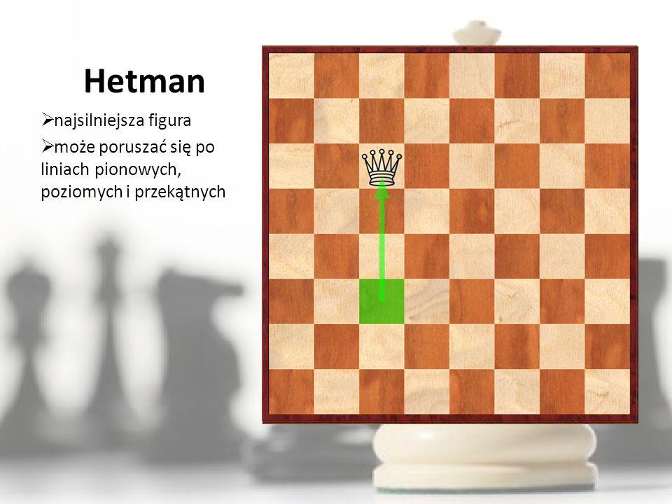 Hetman najsilniejsza figura może poruszać się po liniach pionowych, poziomych i przekątnych