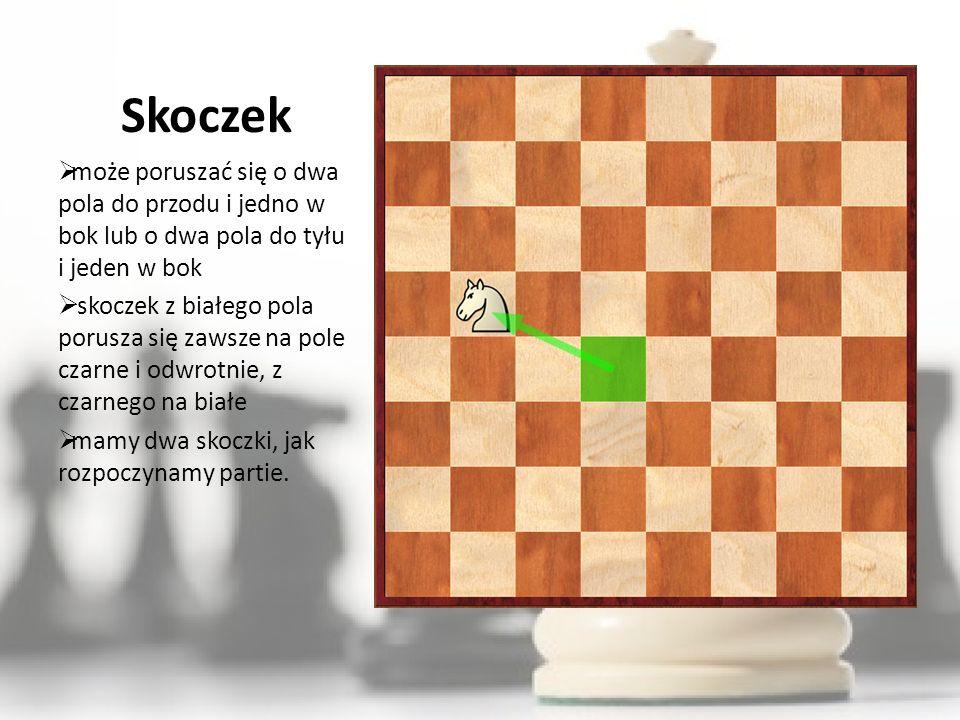 Pionek najsłabsza bierka może poruszać tylko do przodu o jedno pole jedynie w pozycji wyjściowej może przesunąć się o dwa pola pionek który przemaszerował całą szachownicę i osiągnął ostatnią linię musi być w tym samym ruchu zastąpiony hetmanem, wieżą, gońcem lub skoczkiem