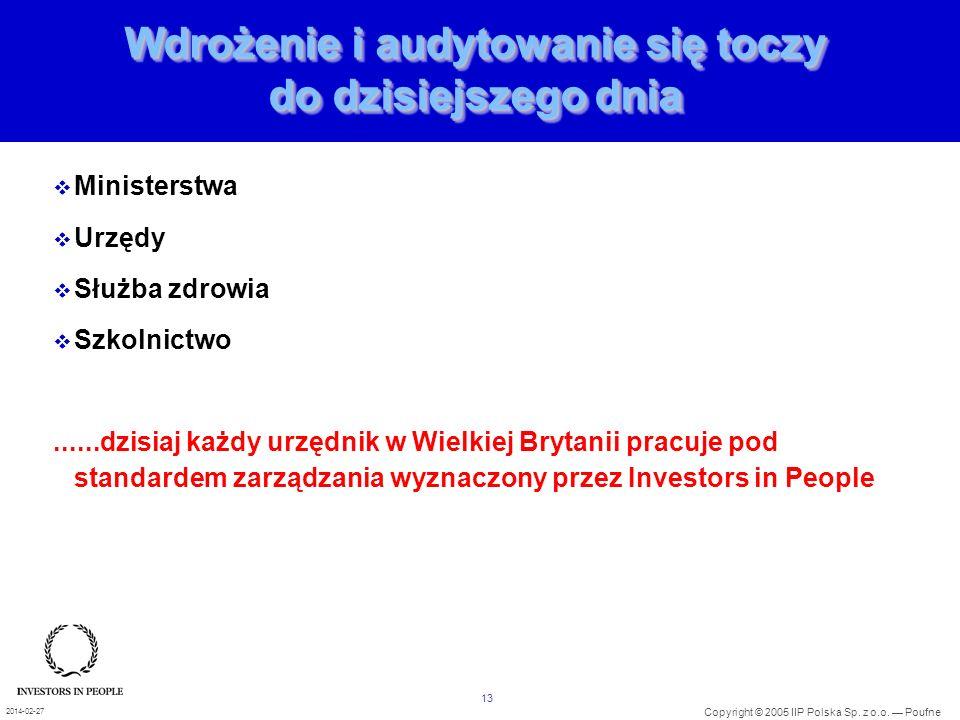 13 Copyright © 2005 IIP Polska Sp. z o.o. Poufne 2014-02-27 Wdrożenie i audytowanie się toczy do dzisiejszego dnia Ministerstwa Urzędy Służba zdrowia