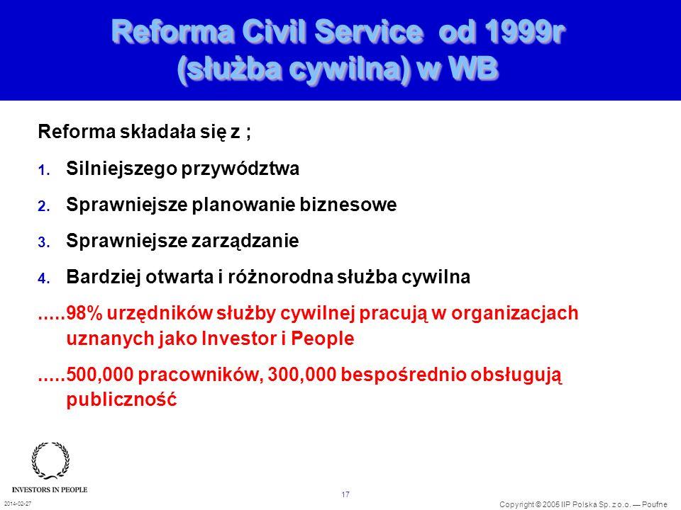 17 Copyright © 2005 IIP Polska Sp. z o.o. Poufne 2014-02-27 Reforma Civil Service od 1999r (służba cywilna) w WB Reforma składała się z ; 1. Silniejsz