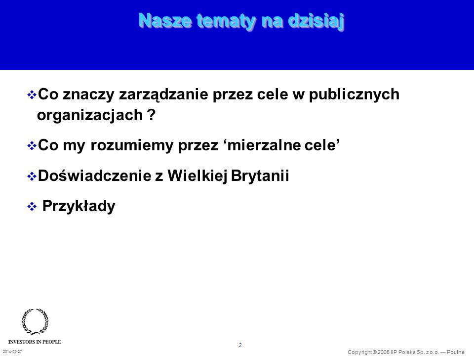 2 Copyright © 2005 IIP Polska Sp. z o.o. Poufne 2014-02-27 Nasze tematy na dzisiaj Co znaczy zarządzanie przez cele w publicznych organizacjach ? Co m