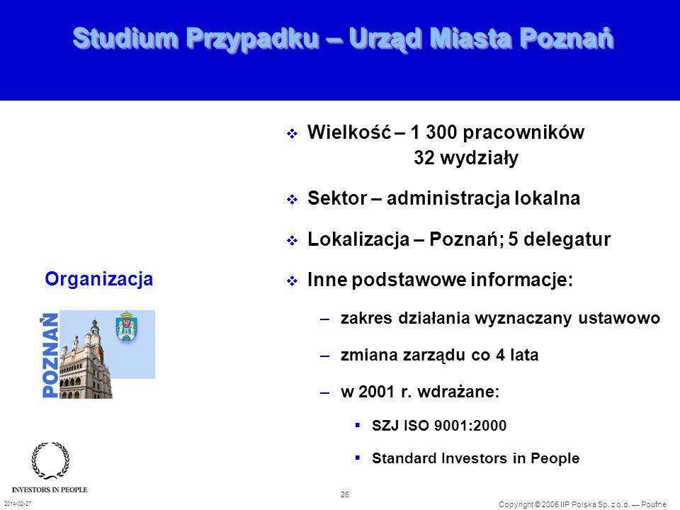 26 Copyright © 2005 IIP Polska Sp. z o.o. Poufne 2014-02-27 Studium Przypadku – Urząd Miasta Poznań Wielkość – 1 300 pracowników 32 wydziały Sektor –