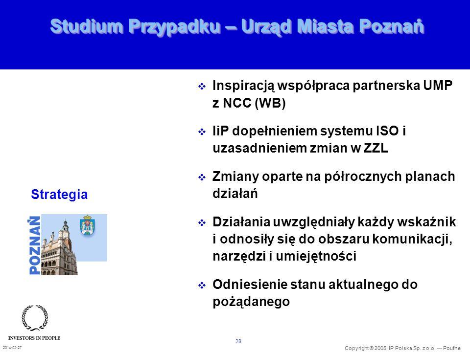 28 Copyright © 2005 IIP Polska Sp. z o.o. Poufne 2014-02-27 Studium Przypadku – Urząd Miasta Poznań Inspiracją współpraca partnerska UMP z NCC (WB) Ii