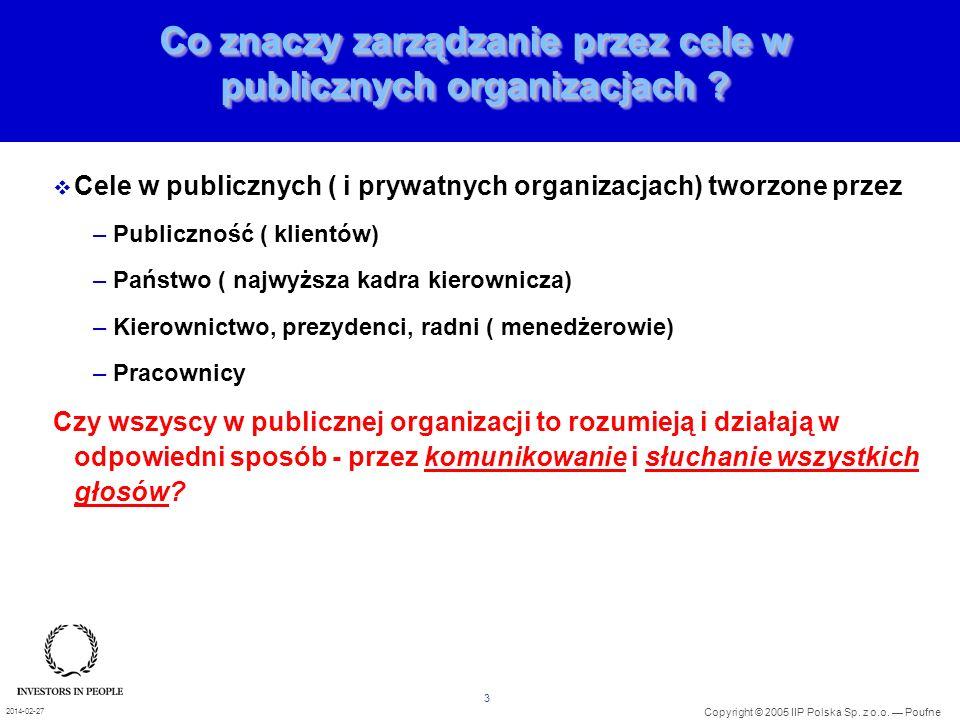 3 Copyright © 2005 IIP Polska Sp. z o.o. Poufne 2014-02-27 Co znaczy zarządzanie przez cele w publicznych organizacjach ? Cele w publicznych ( i prywa
