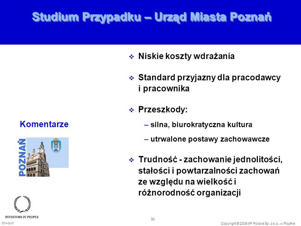 30 Copyright © 2005 IIP Polska Sp. z o.o. Poufne 2014-02-27 Studium Przypadku – Urząd Miasta Poznań Niskie koszty wdrażania Standard przyjazny dla pra