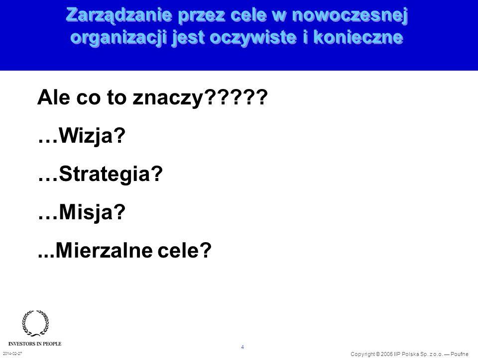 4 Copyright © 2005 IIP Polska Sp. z o.o. Poufne 2014-02-27 Zarządzanie przez cele w nowoczesnej organizacji jest oczywiste i konieczne Ale co to znacz
