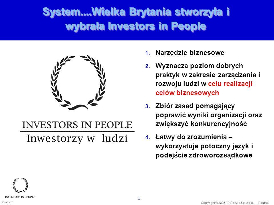 8 Copyright © 2005 IIP Polska Sp. z o.o. Poufne 2014-02-27 System....Wielka Brytania stworzyła i wybrała Investors in People 1. Narzędzie biznesowe 2.