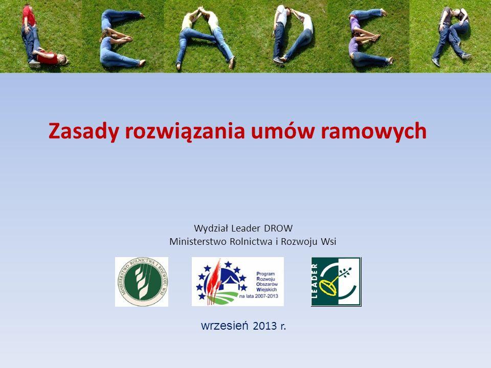 Zasady rozwiązania umów ramowych wrzesień 2013 r.