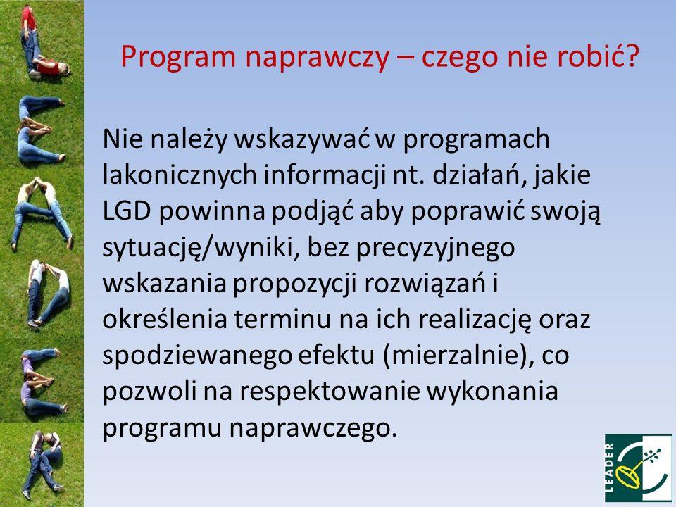 Program naprawczy – czego nie robić.Nie należy wskazywać w programach lakonicznych informacji nt.