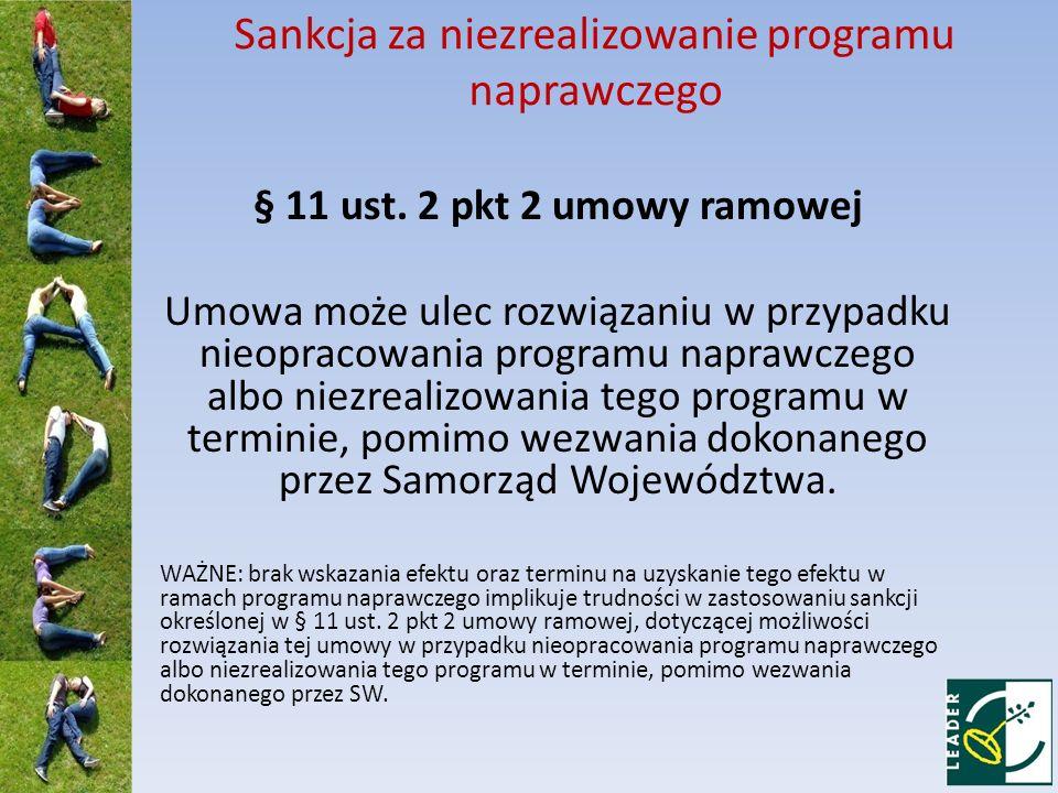 Sankcja za niezrealizowanie programu naprawczego § 11 ust.