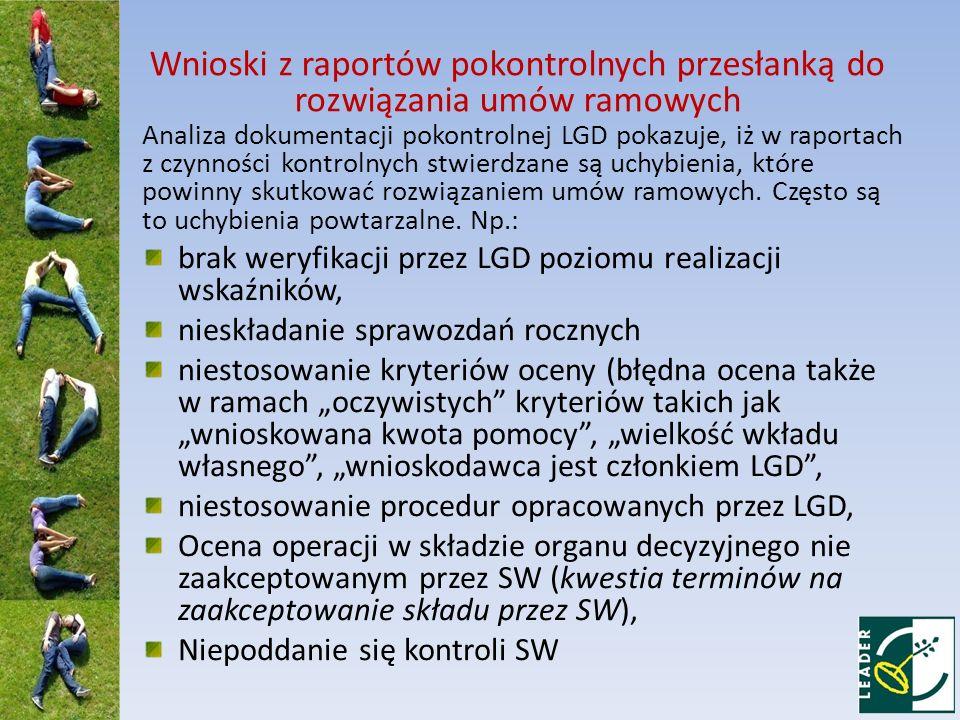Analiza dokumentacji pokontrolnej LGD pokazuje, iż w raportach z czynności kontrolnych stwierdzane są uchybienia, które powinny skutkować rozwiązaniem umów ramowych.