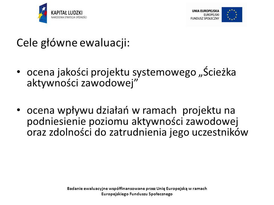 Badanie ewaluacyjne współfinansowane przez Unię Europejską w ramach Europejskiego Funduszu Społecznego Cele główne ewaluacji: ocena jakości projektu systemowego Ścieżka aktywności zawodowej ocena wpływu działań w ramach projektu na podniesienie poziomu aktywności zawodowej oraz zdolności do zatrudnienia jego uczestników