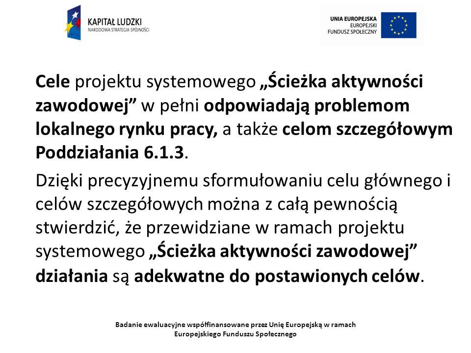 Badanie ewaluacyjne współfinansowane przez Unię Europejską w ramach Europejskiego Funduszu Społecznego Cele projektu systemowego Ścieżka aktywności za