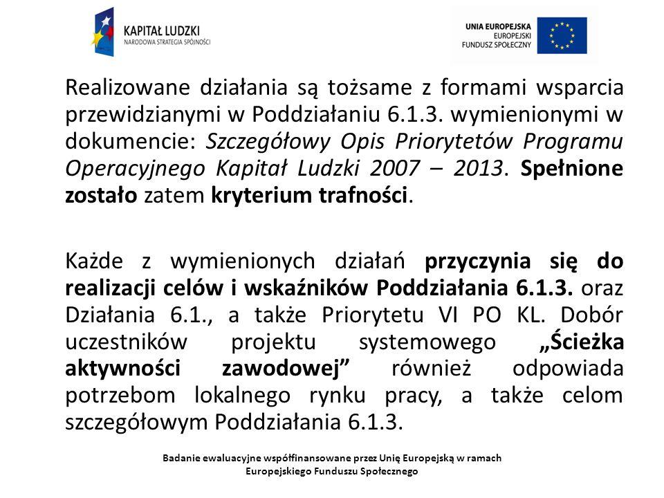 Badanie ewaluacyjne współfinansowane przez Unię Europejską w ramach Europejskiego Funduszu Społecznego Realizowane działania są tożsame z formami wspa