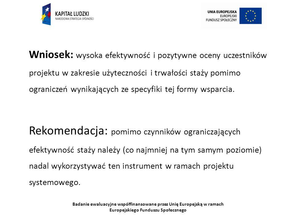 Badanie ewaluacyjne współfinansowane przez Unię Europejską w ramach Europejskiego Funduszu Społecznego Wniosek: wysoka efektywność i pozytywne oceny u