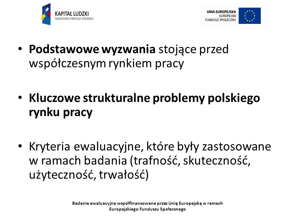Badanie ewaluacyjne współfinansowane przez Unię Europejską w ramach Europejskiego Funduszu Społecznego Podstawowe wyzwania stojące przed współczesnym rynkiem pracy Kluczowe strukturalne problemy polskiego rynku pracy Kryteria ewaluacyjne, które były zastosowane w ramach badania (trafność, skuteczność, użyteczność, trwałość)