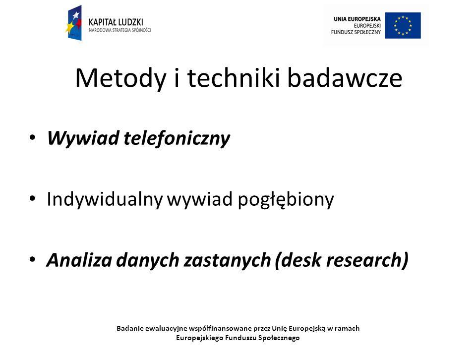 Badanie ewaluacyjne współfinansowane przez Unię Europejską w ramach Europejskiego Funduszu Społecznego Metody i techniki badawcze Wywiad telefoniczny Indywidualny wywiad pogłębiony Analiza danych zastanych (desk research)