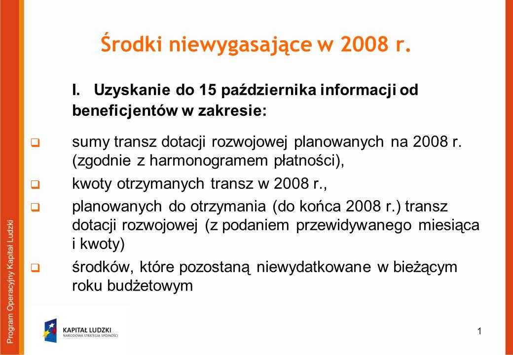 1 Środki niewygasające w 2008 r. I.