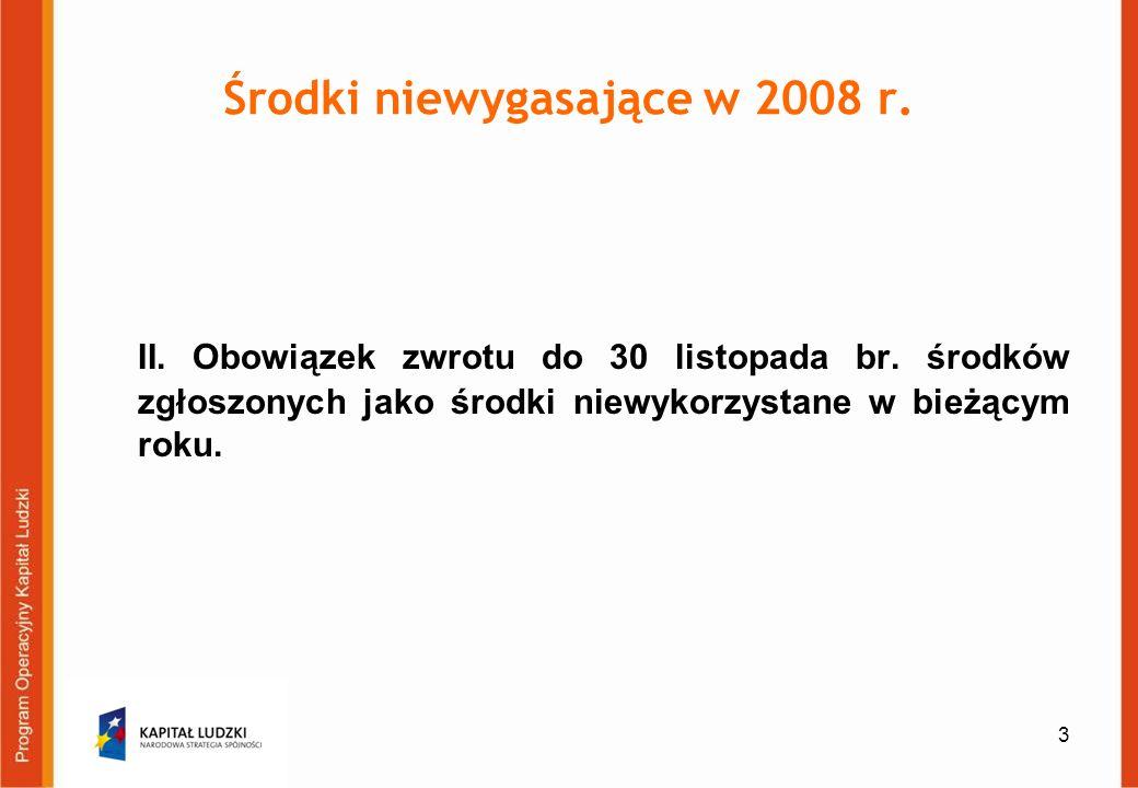 4 Środki niewygasające w 2008 r.III. Każdy beneficjent powinien do 15 stycznia 2009 r.