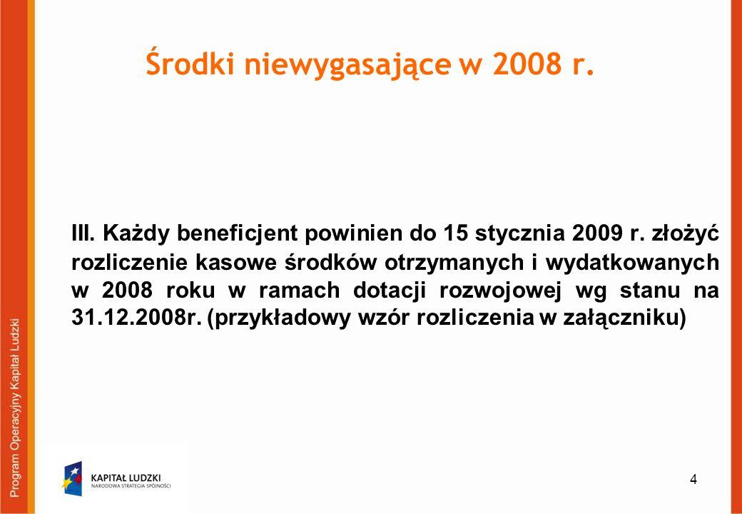 4 Środki niewygasające w 2008 r. III. Każdy beneficjent powinien do 15 stycznia 2009 r.