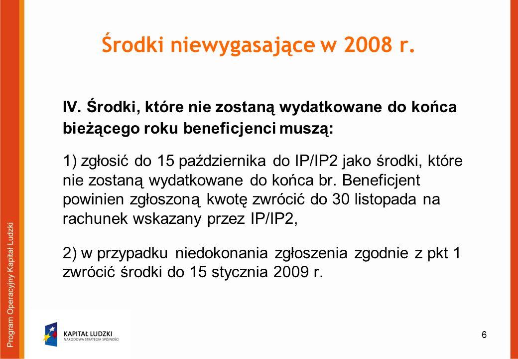 7 Zwrot środków W przypadku zgłoszenia środków i ich zwrotu do 30 listopada możliwe jest przyjęcie następujących rozwiązań: jeżeli zgłoszona przez beneficjenta niewydatkowana kwota, przewyższa kwotę kolejnych transz dotacji planowanych do przekazania przez IP/IP2 w danym roku budżetowym, beneficjent do dnia 30 listopada danego roku zwraca różnicę na rachunek wskazany przez IP/IP2 i jednocześnie nie otrzymuje w danym roku kolejnej transzy wskazanej w harmonogramie (przykład 1)