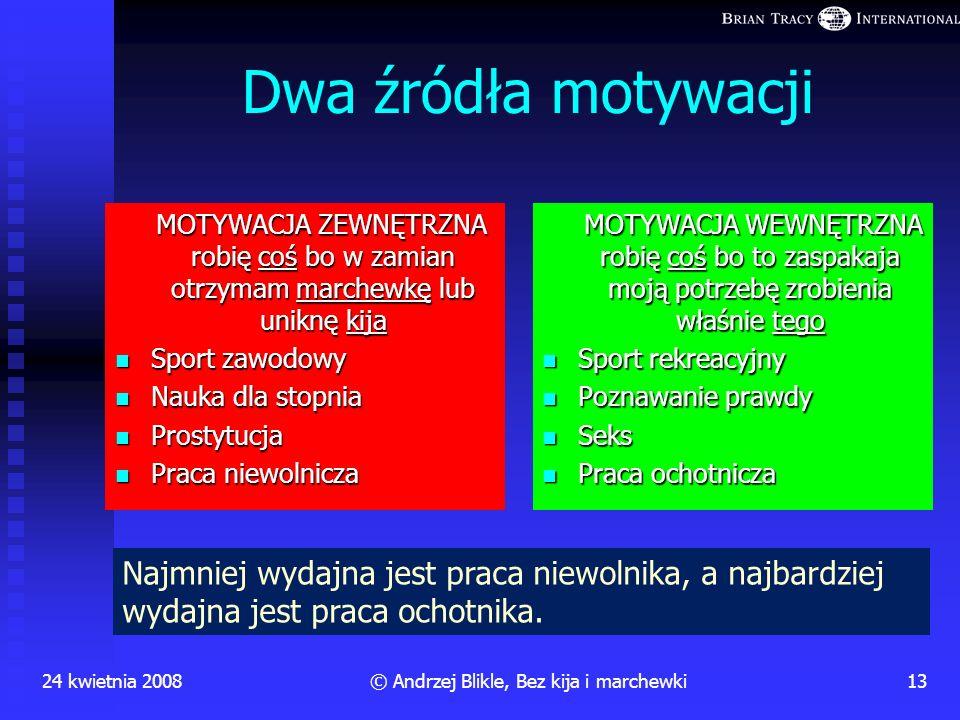 24 kwietnia 200812© Andrzej Blikle, Bez kija i marchewki Zakres zastosowań kija i marchewki Przy pomocy kija lub marchewki można łatwo i szybko (!) zm