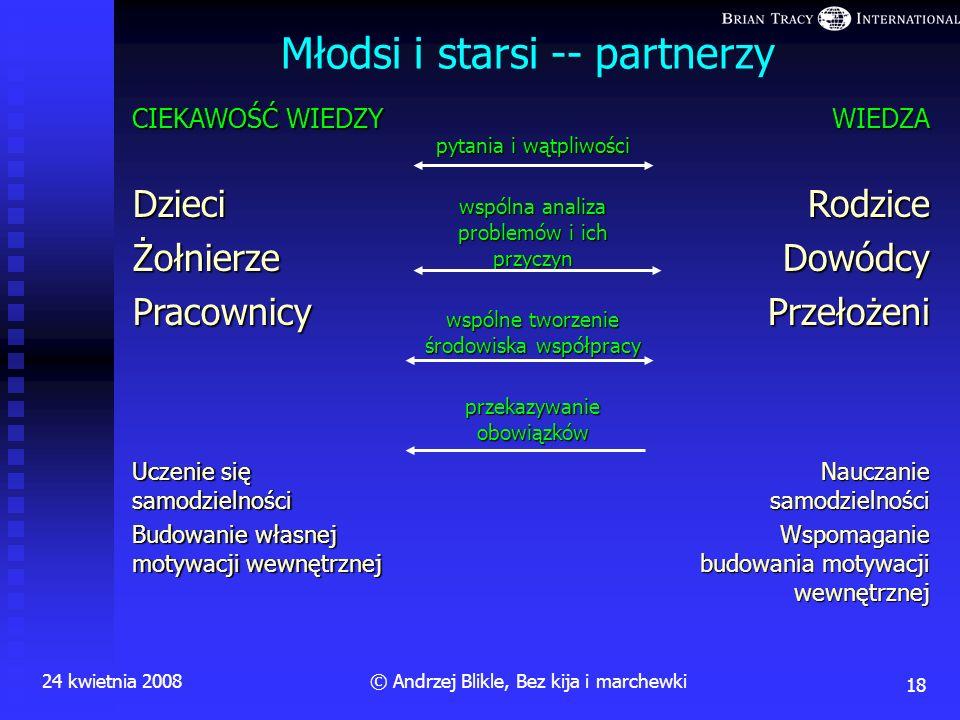 Kto (w Polsce) odchodzi od idei kija i marchewki 24 kwietnia 200817© Andrzej Blikle, Bez kija i marchewki Kilka przykładów: Andersen Business Consulti