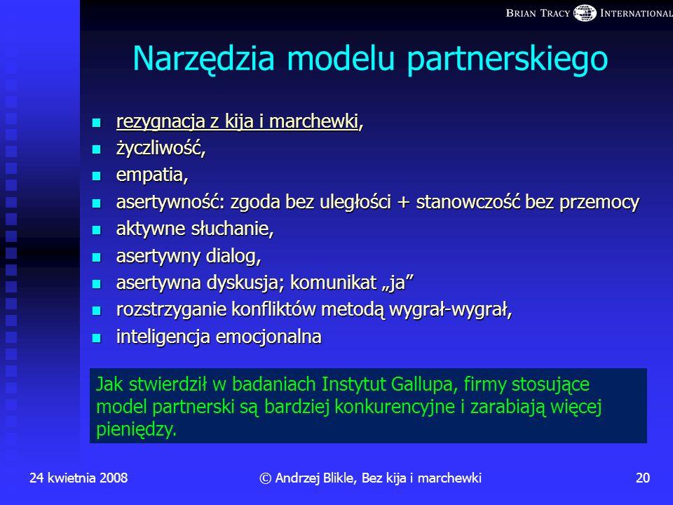 24 kwietnia 200819© Andrzej Blikle, Bez kija i marchewki Sprzężenie zwrotne przy motywacji wewnętrznej potrzeba działania działanie STAŁE ZASPAKAJANIE