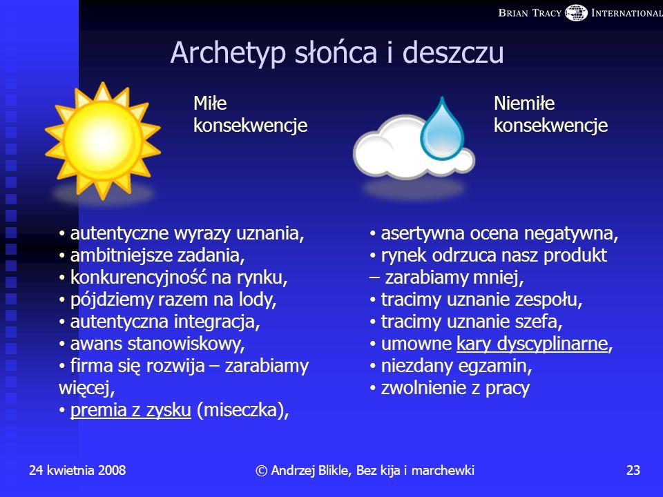 24 kwietnia 200822© Andrzej Blikle, Bez kija i marchewki PUŁAPKA bez kija i marchewki = bez dyscypliny i uznania ? NIE! Kij i marchewka = czyjeś dział