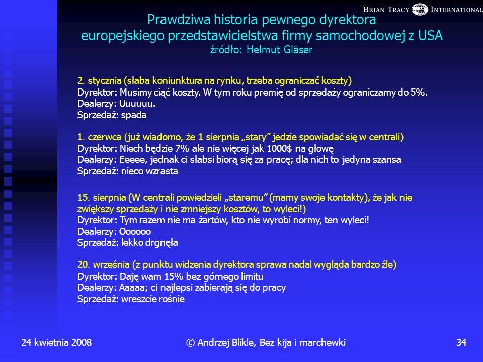 24 kwietnia 200833© Andrzej Blikle, Bez kija i marchewki Premiowa dźwignia (czyli kto kogo) personel dyrekcja Dopiero po założeniu dzwigni okazuje się