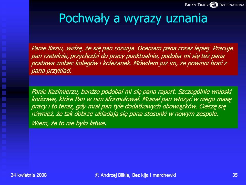 24 kwietnia 200834© Andrzej Blikle, Bez kija i marchewki 20. września (z punktu widzenia dyrektora sprawa nadal wygląda bardzo źle) Dyrektor: Daję wam