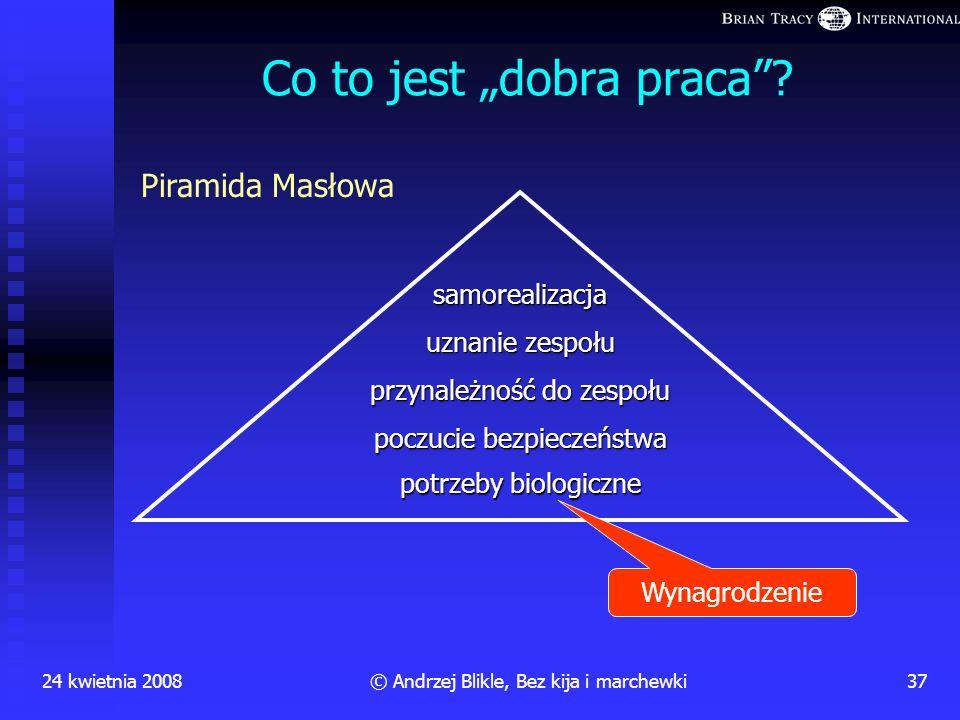 24 kwietnia 200836© Andrzej Blikle, Bez kija i marchewki Przestań ludzi demotywować Pewna rada nadzorcza debatowała (w obecności prezesa zarządu) nad