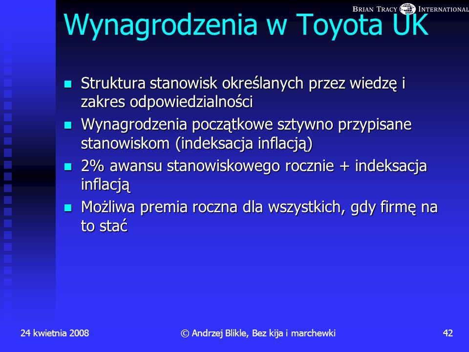 24 kwietnia 200841© Andrzej Blikle, Bez kija i marchewki Wybór Możliwość dokonywania wyboru drogi postępowania w ramach założonych celów Zasada samodz