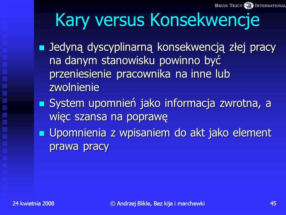 24 kwietnia 200844© Andrzej Blikle, Bez kija i marchewki Pułapki TQM Brak dyscypliny; pomylenie kary i konsekwencji Brak dyscypliny; pomylenie kary i