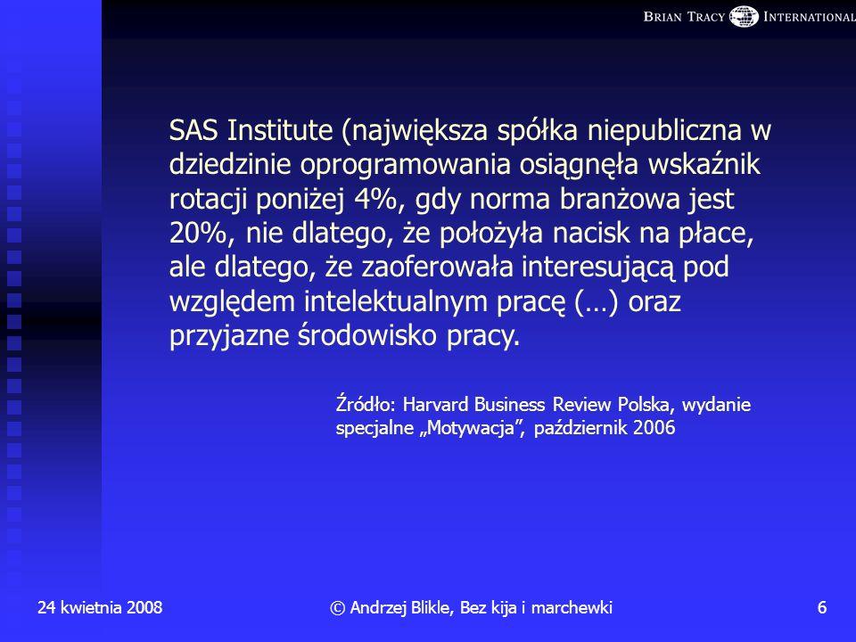24 kwietnia 20085© Andrzej Blikle, Bez kija i marchewki Ludzie rozstają się z szefami, nie z firmą! Konkluzja z badań Gallupa:
