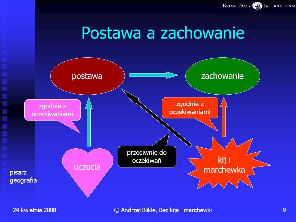Na gruncie psychologii społecznej udowodniono, że kij i marchewka są jednakowo przeciwskuteczne jako narzędzia zmiany postawy 24 kwietnia 20088© Andrz