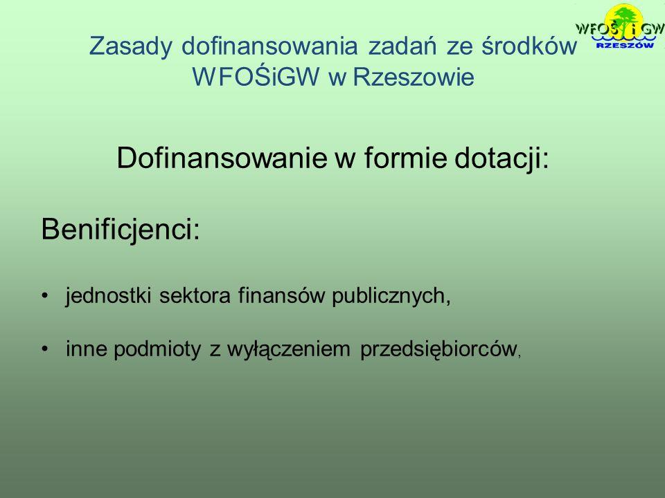 Zasady dofinansowania zadań ze środków WFOŚiGW w Rzeszowie Dofinansowanie w formie dotacji: Benificjenci: jednostki sektora finansów publicznych, inne podmioty z wyłączeniem przedsiębiorców,
