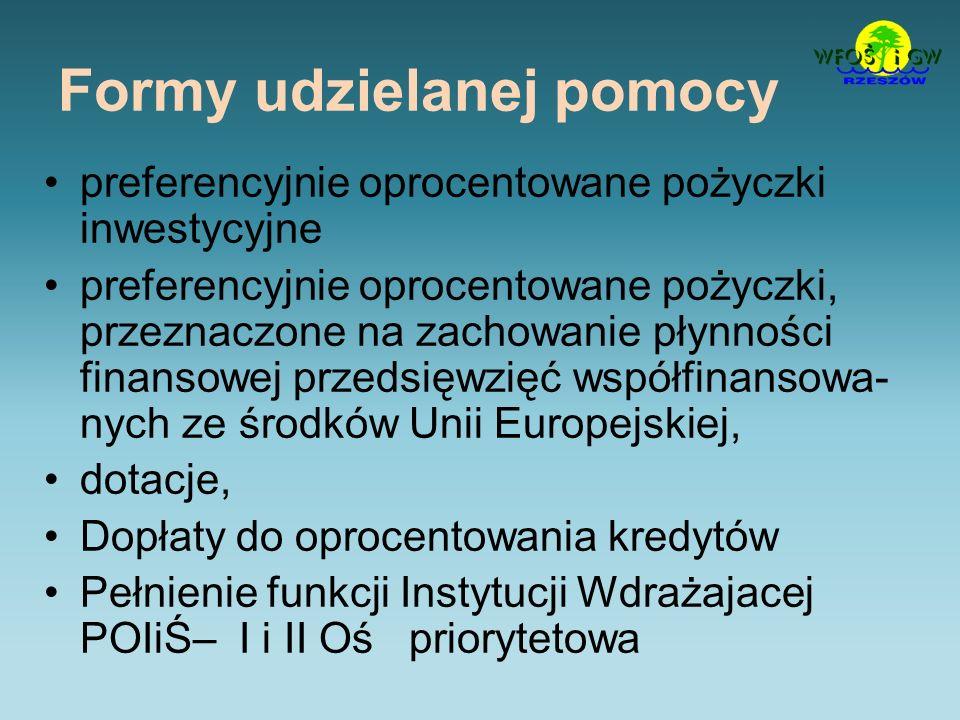 Formy udzielanej pomocy preferencyjnie oprocentowane pożyczki inwestycyjne preferencyjnie oprocentowane pożyczki, przeznaczone na zachowanie płynności finansowej przedsięwzięć współfinansowa- nych ze środków Unii Europejskiej, dotacje, Dopłaty do oprocentowania kredytów Pełnienie funkcji Instytucji Wdrażajacej POIiŚ– I i II Oś priorytetowa
