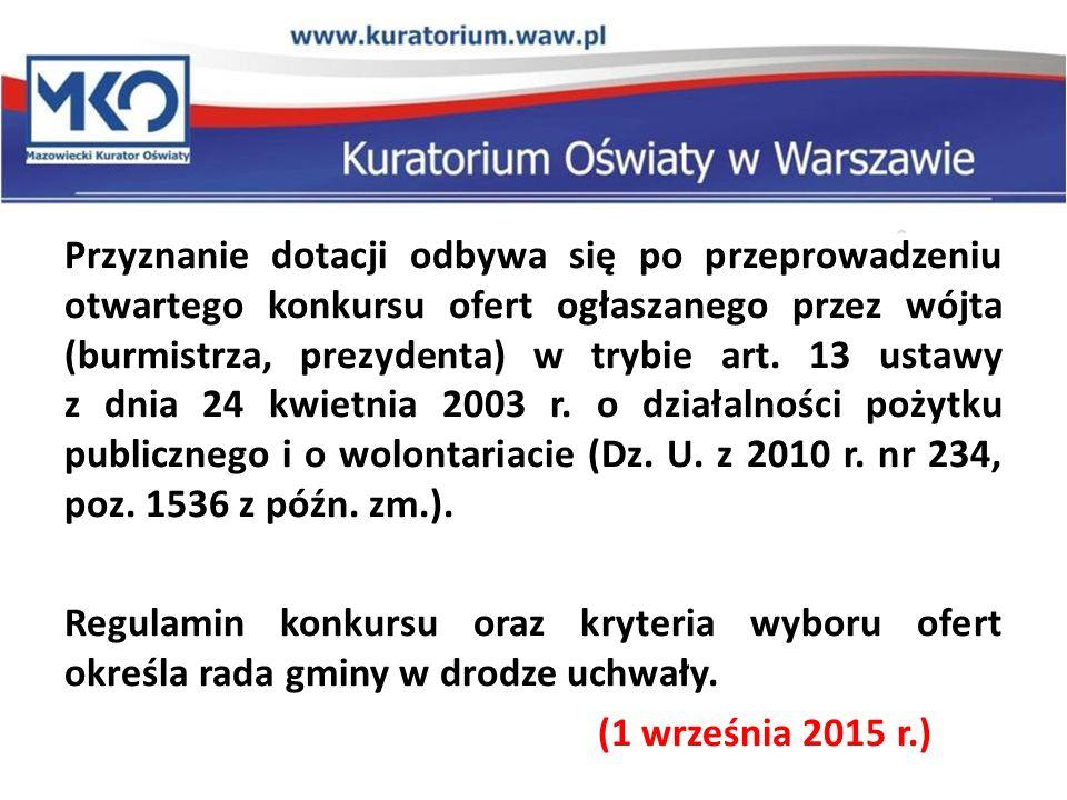 Przyznanie dotacji odbywa się po przeprowadzeniu otwartego konkursu ofert ogłaszanego przez wójta (burmistrza, prezydenta) w trybie art. 13 ustawy z d