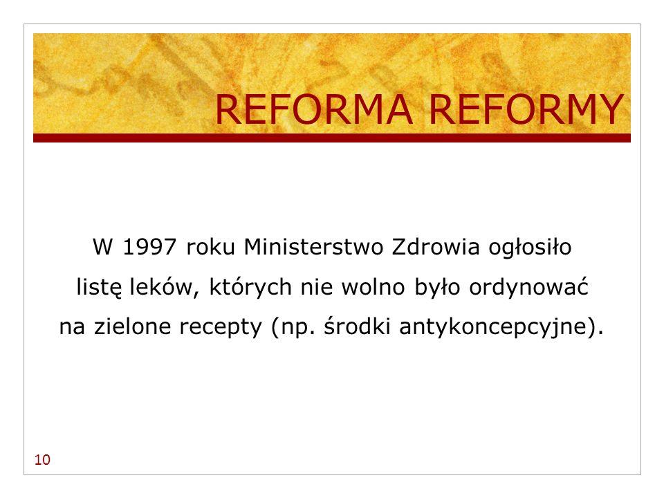 1998/1999 Jedna zielona recepta kosztowała 139,00 PLN Dla przykładu w 2000/2001 koszt jednej recepty refundowanej przez Kasy Chorych wynosił od 5,60 – 160,00 PLN (średnio – 50,00 PLN) 11