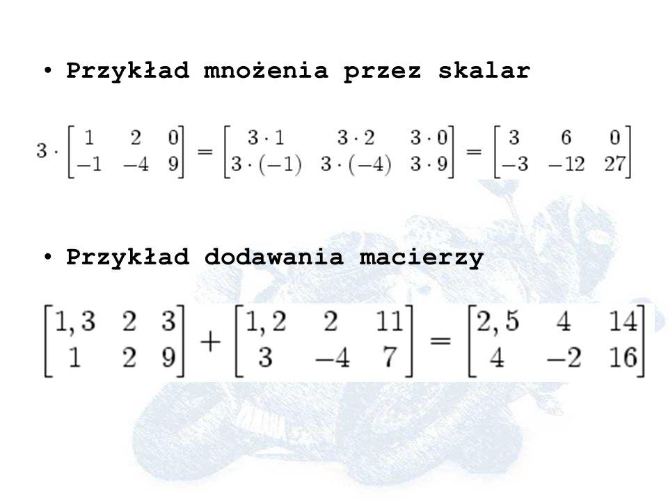 Przykład mnożenia przez skalar Przykład dodawania macierzy