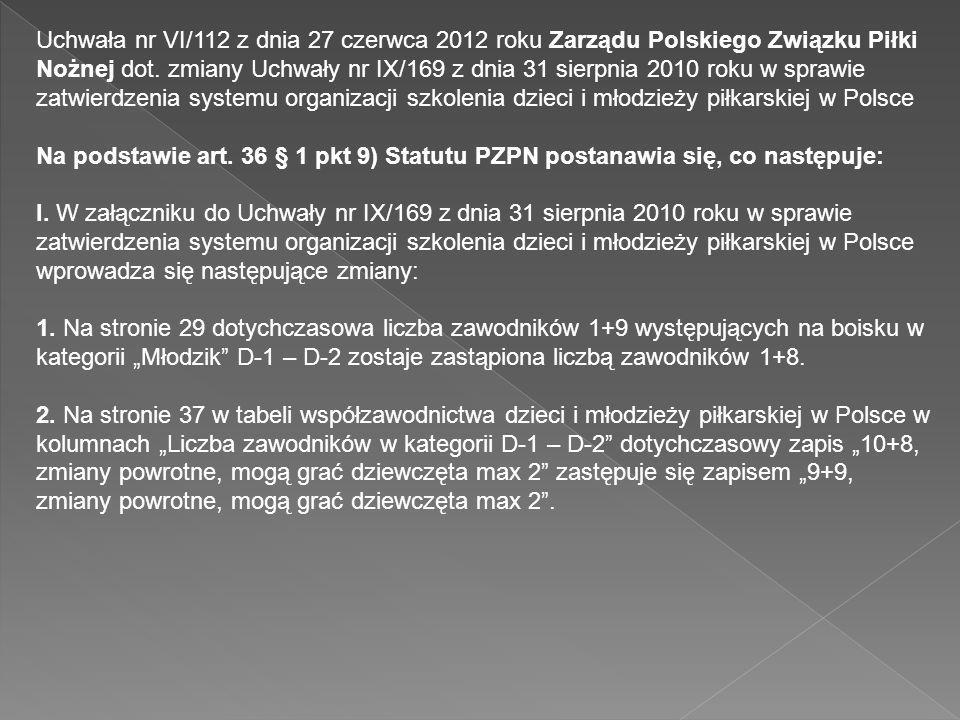 Uchwała nr VI/112 z dnia 27 czerwca 2012 roku Zarządu Polskiego Związku Piłki Nożnej dot. zmiany Uchwały nr IX/169 z dnia 31 sierpnia 2010 roku w spra